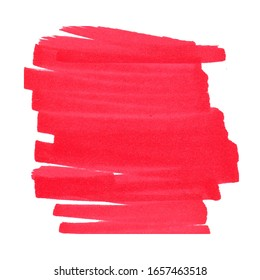 White background with red scribble and lines in the center drawn with markers