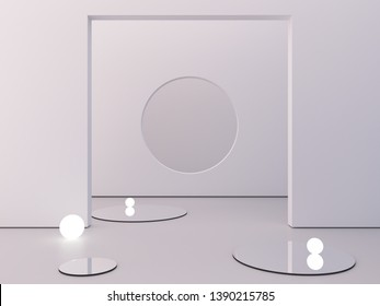 White background to show cosmetic products. Minimal empty scene with mirrows in the floor and spherical lights. Circle in background wall. Empty showcase. Geometrical forms. 3d rendering illustration.