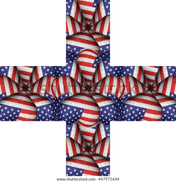 White background with usa flag pattern motif borders