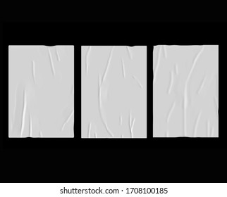 White bad glued paper realistic poster illustration. Set of wet wrinkled and creased paper sheets with crumpled texture, blank posters glued to street wall or advertising column, mock up for design