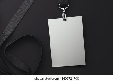 White badge on black lanyard. 3d rendering