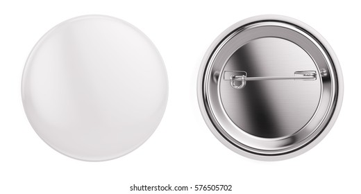 White badge pin brooch isolated on white mock-up. 3d rendering.