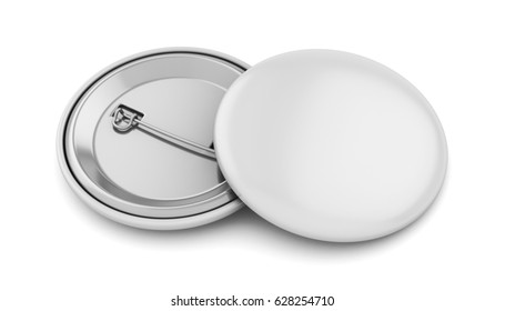 White badge pin brooch isolated on white mock-up, 3d illustration