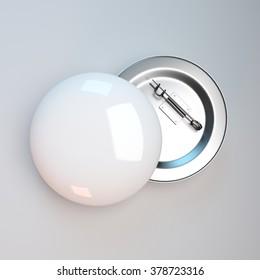 white badge pin brooch mock-up