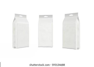 White bag package on a white background, 3d illustration