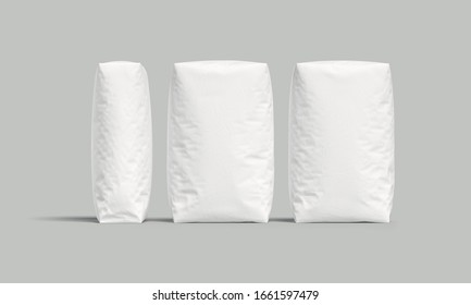 White bags or sacks isolated on light background. Mockup for design. 3d render