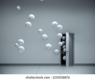 White balloons fly away through open door in office interior. 3D render