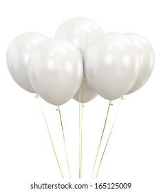 White Balloons isolated on White Background