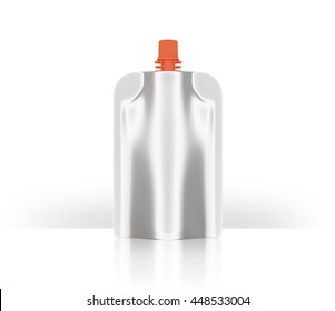 White bank red lid bag packaging white background  clipping path . Plastic pack mock up. liquid product  fruit juice, milk , jelly . design and artwork (3D Rendering)