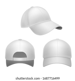 White baseball cap. 3d mockup hat, head caps back, front and side view. Corporate uniform clothes, realistic fashion designed blank object design template