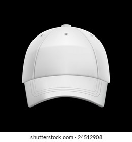 White baseball cap template (isolated on black, clipping path)