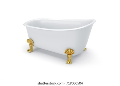 White bath on golden legs. Vintage style. isolated background. 3D rendering