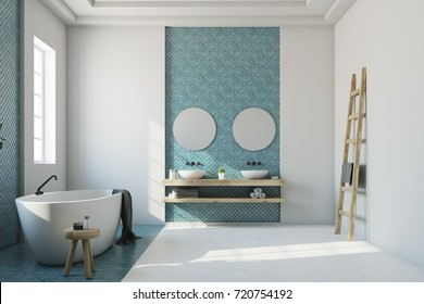 White bathroom interior with a blue mosaic, a white and blue floor, an oval tub, a double sink and two round mirrors. 3d rendering mock up