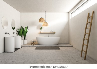 White bathroom interior with concrete floor, white bathtub, two white round sinks with round mirrors above them and a ladder near the wall. 3d rendering