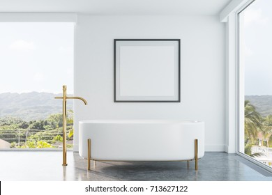 White bathroom interior with panoramic windows, a tropical view, an originally shaped bathtub and a framed square poster on a wall. 3d rendering mock up