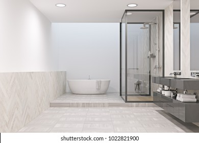 White bathroom interior with a tiled floor, a white tub, a shower stall and a gray double sink in the corner. 3d rendering mock up