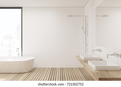 White bathroom interior with white walls, a white wooden floor, a white tub and a double sink. Side view. 3d rendering mock up