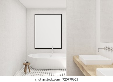 White bathroom interior with a white wooden floor, a window, a framed poster on a wall and a white tub. 3d rendering mock up