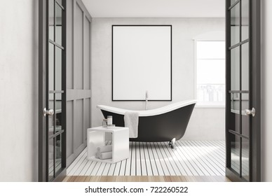 White bathroom interior with a white wooden floor, a window, a framed poster and a black tub. 3d rendering mock up