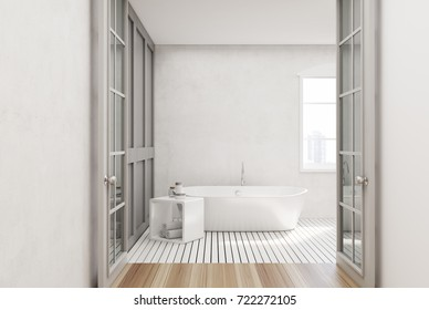 White bathroom interior with a white wooden floor, a window, a glass door and a white tub. 3d rendering mock up