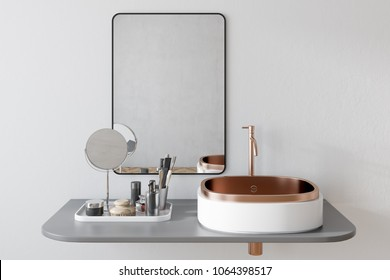 White bathroom sink with a rectangular mirror hanging above it in a white wall bathroom. A make up shelf and mirror. 3d rendering
