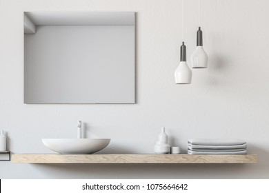 White bathroom sink standing on a wooden shelf. A square mirror hanging on a white wall. A close up. 3d rendering