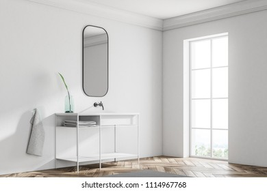 White bathroom sink standing in a Scandinavian style bathroom corner with a narrow vertical horizontal mirror hanging above it. 3d rendering mock up
