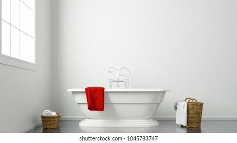White bathroom with tub and red towel 3d rendering