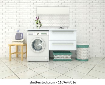 White bathroom with washing machine. 3d illustration