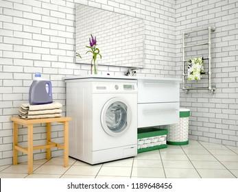 White bathroom with washing machine. 3d illustration