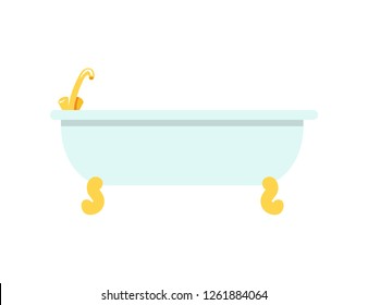 White beaming bath with tiny banded golden legs and shiny faucet. raster illustration with deep rounded bath isolated on white background