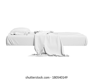White Bed In Empty Space Isolated on White background, Render