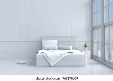 White bed room decor with tree in glass vase, pillows, white blanket, window, sky, lamp,bookcase,white wall it is pattern,The sun shines through the window into the shadows,White floor.3d rendering.