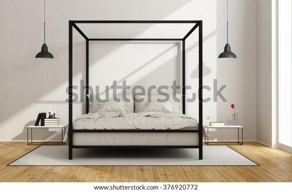 White Bedroom Canopy Bed Minimalist Style Stock Illustration ...