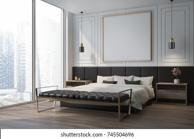 White bedroom corner with a wooden floor, a double bed with a framed square poster hanging above it and two bedside tables. 3d rendering mock up