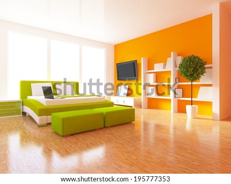 White Bedroom White Fan Orange Wall Stock Illustration - Royalty ...