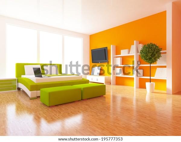 White Bedroom White Fan Orange Wall Stock Illustration 195777353