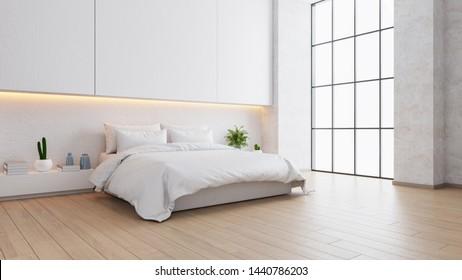 White bedroom interior ,cozy space , modern design ,3d render