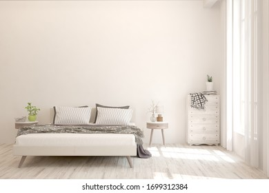 White bedroom interior. Scandinavian design. 3D illustration
