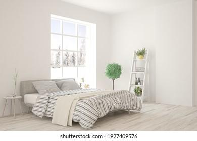 El interior del dormitorio blanco. Diseño escandinavo. ilustración 3D