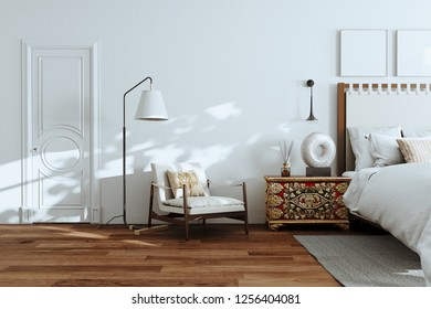 White Bedroom Interior with Wood floor , floor lamp and Chair 3D render