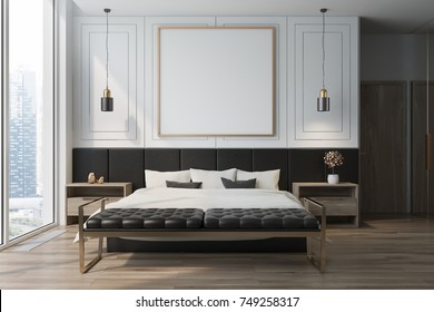 White bedroom interior with a wooden floor, a double bed with a framed square poster hanging above it and two bedside tables. 3d rendering mock up