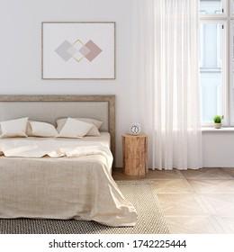 Weißes Schlafzimmer mit natürlichem Leinen auf dem Bett, waagerechtes Poster über dem Bettkopfende. Ein Wecker steht auf einem Stumpf zwischen einem Bett und einem Fenster mit Leinenvorhang. Mockup. 3D-Darstellung