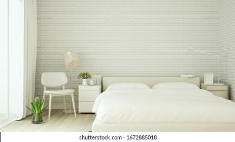 white bedroom on white brick design in hotel or home - Interior minimal style of artwork bedroom - 3D Rendering