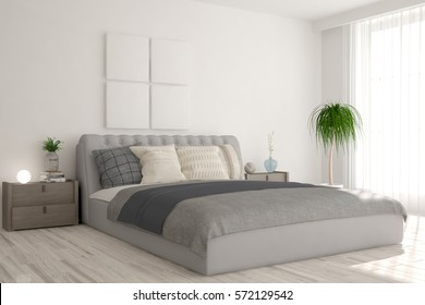 White bedroom. Scandinavian interior design. 3D illustration