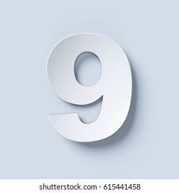 White bent paper font number 9