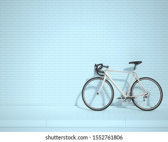 White bicycle in the lower right corner of the frame 3d rendering. 3d illustration ecological urban transport. Vintage bicycle in the room against wall. Copy space. blue background.