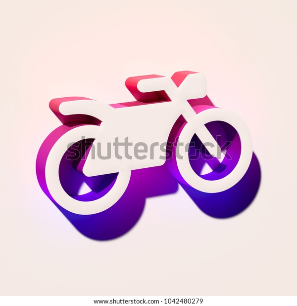 White Bicycle Sport Icon. 3D Illustration of White Bicycle, Bike, Race, Ride, Riding, Spo Icons With Pink and Blue Gradient Shadows.