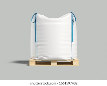 White big bag or sack on pallet. Isolated object on light background. Mockup for design. 3d render