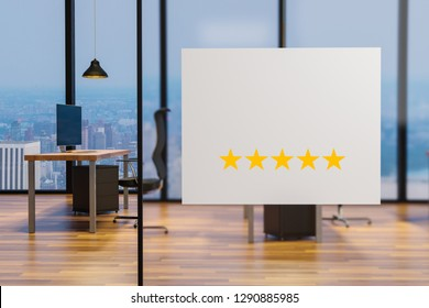 white billboard on glass wall in clean office workplace, five star rating, 3D illustration